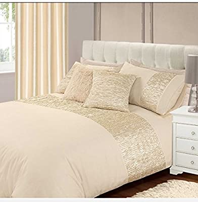 New Luxury Double Bed Freya Duvet / Quilt Cover Bedding Set Cream Plain Satin Crushed Pleats