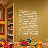 WallsUp Rules Of Our Playroom / Everyone Is Welcome Wandaufkleber / Wandtattoo mit englischem inspirierendem Spruch - 34 x51 - Custom