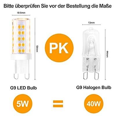Creyer G9 LED Lampen Kein Flackern/420 lumens/5W ersetzt 40W Halogenlampen/Warmweiß 2900K/G9 LED Leuchtmittel Birne/AC 220-240V/Nicht Dimmbar/5er Pack