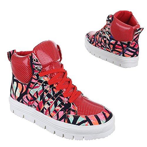Damen Schuhe Sneakers Schnürsenkel High-Top Sneaker Freizeitschuhe Rot