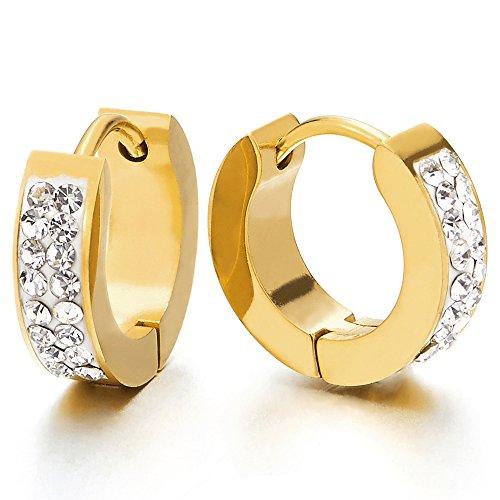 2 Colore Oro Orecchini a Cerchio con Zirconi, Orecchini da Uomo Donna, Acciaio Inossidabile
