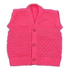Montu Bunty Baby Woolen Vest(Pink, 0-6 Months)