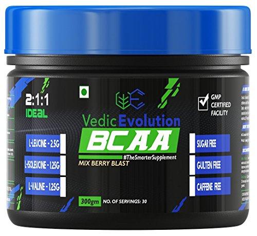 Vedic Evolution BCAA 2:1:1 Ideal Ratio Of Amino Acid - 300 g (30 Servings, Mix Berry Blast)