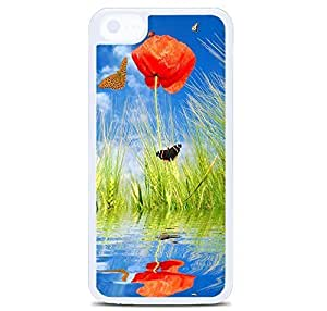 iPhone 5C Case Cover, Spring Poppy Flowers And Butterflies Polycarbonate Plastic Hardshell Case Back Cover for iPhone 5C White