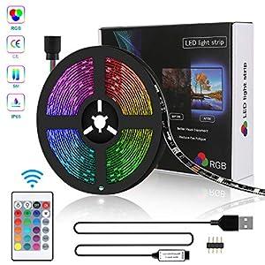 LED Strip USB 5m, Zorara RGB LED Lichterkette Streifen SMD 5050 Leds Band, Led TV Hintergrundbeleuchtung Fernseher Beleuchtung, LED Leiste Licht Strips Kette IP65 Lichtleiste Bänder[Energieklasse A+]