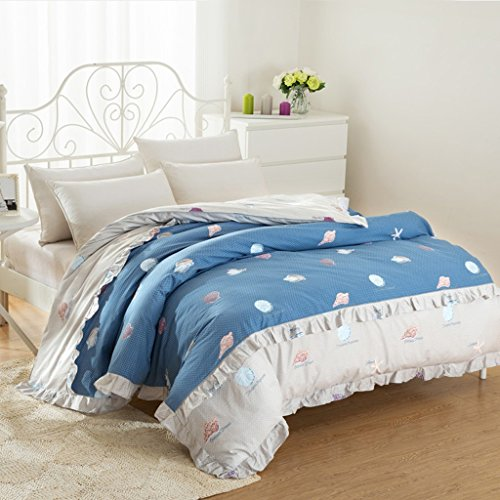 Bettdecke CHENGYI Blue Shell Conch Pattern Quilt Cover Single Student Baumwolle Herbst und Winter Korean Style Quilt Cover (Size : 180 * 220cm) Blue Shell Quilt