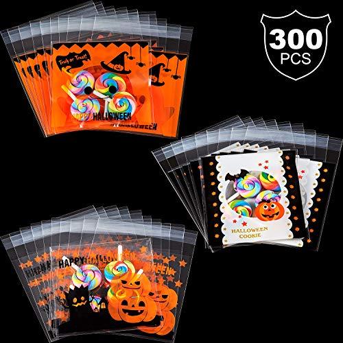 300 Stücke Halloween Weihnachten Selbstklebende Klare Süßigkeiten Keks Beutel 3 Bäckerei Plätzchen Snacks Dessert Hausgemachte Handwerk (Für Party-spiele Halloween Hausgemachte)