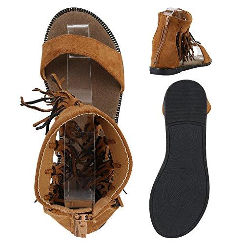 Damen Sandalen Fransen | Glitzer Schuhe Quasten | Metallic Flats Schnallen | Riemchensandalen Damenschuhe Velours Hellbraun Quasten