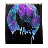 CPYang Duschvorhänge Galaxy Vollmond Wolf Wasserdicht Schimmelresistent Bad Vorhang Badezimmer Home Decor 168 x 182 cm mit 12 Haken