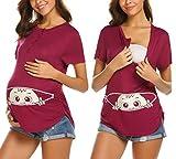 MAXMODA Kurzarm-Schwangere Frauen Pullover T-Shirt Umstandsshirt Baby Guckt Raus
