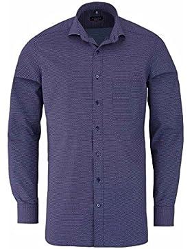 ETERNA Modern Fit Hemd extra langer Arm Muster dunkelblau AL 68