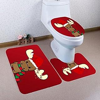 Autumnfall Merry Christmas Sticker 3Pcs Bathroom Non-Slip Pedestal Rug + Lid Toilet Cover + Bath Mat Set (D)