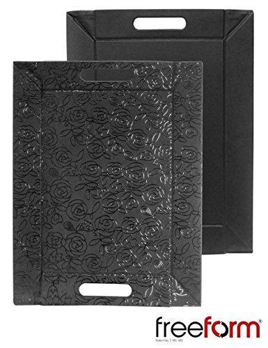 FreeForm réversible Set de table plateaux avec poignées 55 x 41 cm simili cuir noir rose