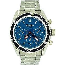 Zaza London Chrono Effect Blue Dial Metal Bracelet Strap Gents Watch MMB234