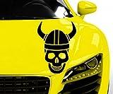 Pegatina Coche Vikingo calavera skull Horror Happy Halloween Pegatina Coche 5o138 - Negro brillante, 55cm