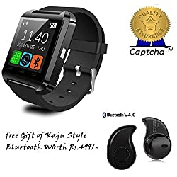 Oppo Neo 7 4G Compatible Ceritfied Bluetooth smart watch Compatible with 99% Android Smartphones iOS Apple iPhone 4/4S/5/5C/5S/6/6 Plus/6S/6S Plus, Samsung S2/S3/S4/Note 2/Note 3, Nexus 6, Moto G3/ G4, Xiaomi Redmi Note 2/3, Coolpad Note 2/3, HTC, Sony, Blackberry(Black)(Assorted Color) with FREE GIFT
