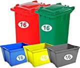 SET OF 5 Wheelie Bin Recycling Box Crate Number Digit and Letter Stickers