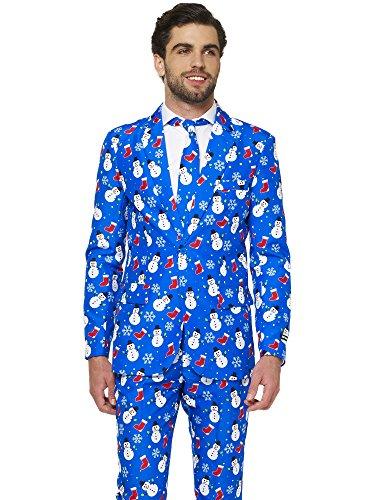 Suitmeister Weihnachtsanzüge für Herren besteht aus Sakko, Hose und Krawatte, Farbe Blau,(Christmas Blue Snowman) Size S (EU46) (Christmas Blue Anzug)