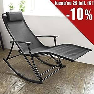 sobuy ogs18 sch fauteuil bascule pliant avec repose pieds en alu rocking chair transat de. Black Bedroom Furniture Sets. Home Design Ideas