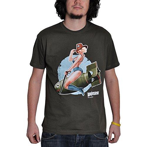Wolfenstein Pin Up Girl T-Shirt Bomb zum Computerspiel lizenziert oliv - L (Print T-shirt Bomben)