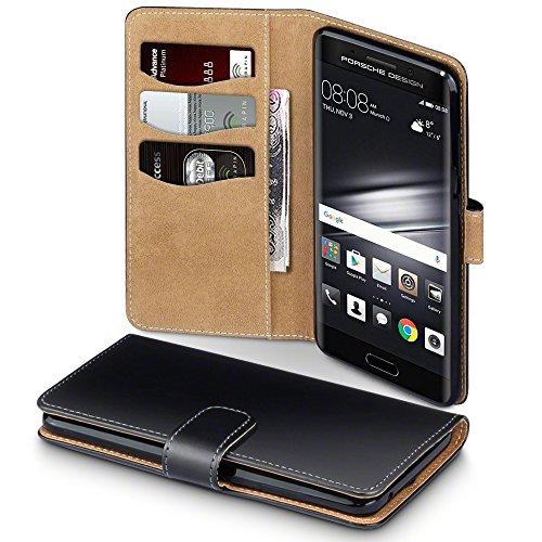 Terrapin, Kompatibel mit Huawei Mate 9 Porsche Design Hülle, Handy Leder Brieftasche Case Tasche mit Kartenfächer - Schwarz mit Hellbraun Interior EINWEG