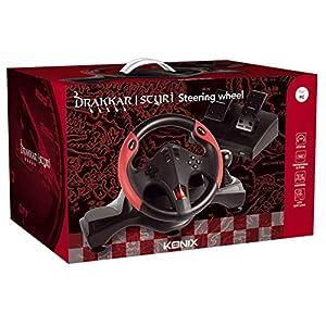 Konix Drakkar Styri – Lenkrad PC USB + Pedalier mit Geschwindigkeitshebel – Vibration Zwei Motoren – Rennrad + Geschwindigkeitsbox – Rotation um 270 ° und Empfindlichkeit einstellbar – LED-Anzeige