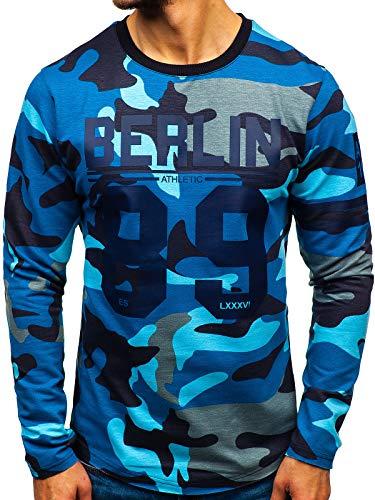 Blau Camo Camouflage T-shirt Top (BOLF Herren Sweatshirt Rundhals Aufdruck Sport Camouflage Military Style Athletic 0743 Blau XL [1A1])