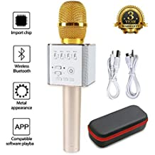 JDSenYe portátil Mic 3-en-1 Bluetooth Magic Karaoke máquina micrófonos inalámbricos altavoz portátil Q9 para Apple Iphone Android Smartphones PC música Playing Singing Home KTV (negro)