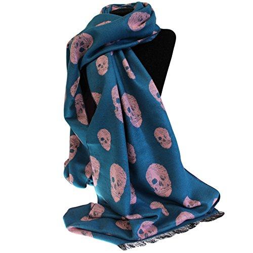 Unisex rico Kid bufanda, diseño de calavera, color azul y rosa