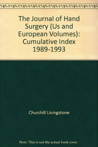 The Journal of Hand Surgery (Us and European Volumes): Cumulative Index 1989-1993 PDF Books