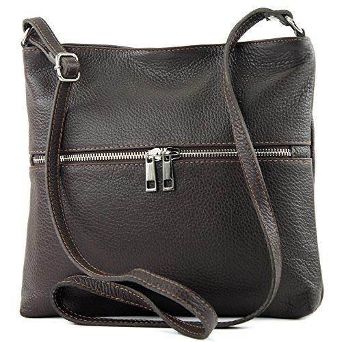 tracolla in Dark a T144 in modamoda signore borsa crossover pelle de Chocolate di borsa ital Cartella pelle nHpqq8T7wx