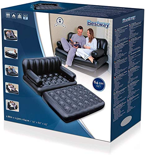 Fashion Mart India Bestway 5 in 1 Plastic Inflatable Sofa Air Bed with Air Pump