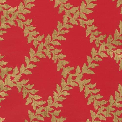 aufgerolltes Geschenkpapier von Caspari 8ft Akanthus-Gitter–rot/gold