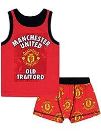 e360dba706f Manchester United FC Official Football Gift Boys Boxer Shorts   Vest Set