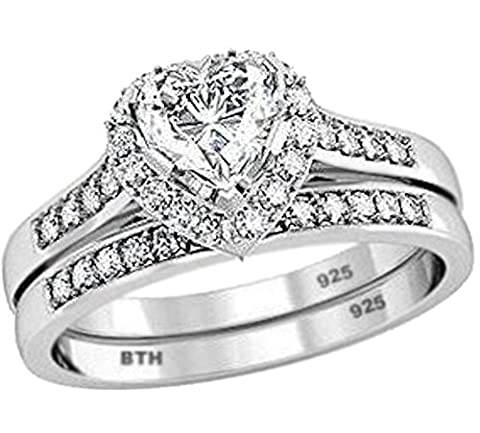 Ladies Ring Set- 925 Sterling Silver Luxury Unique Heart Shape Cubid Zirconia Wedding Engagement Bridal Set Band Ring - Size L - Comes with Luxury Gift Box.