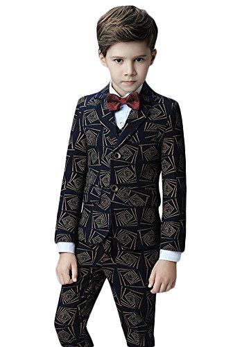 Icegrey Jungen Anzug 5 Stück Smoking Festlicher Jacke Hemd Weste und Hose Anzug für Kommunion Fest Taufe Hochzeit Schwarz 160 Jahren 12 (Voll Front, Gefüttert Anzug Flacher)