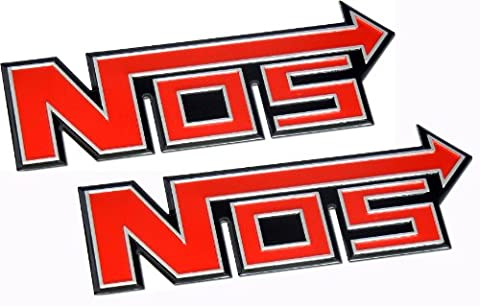 2 x (pair/set) Nitrous Oxide NOS System Aluminum Badge Emblems Boost JDM