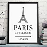 PARIS - EIFFELTURM mit individueller Entfernungsangabe - Geschenk zum Geburtstag, Jahrestag, Hochzeitstag, zum Einzug oder Studienanfang - Rahmen optional