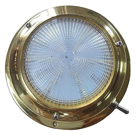 Lampe Dôme en acier inoxydable avec interrupteur pour RV Marine Bateau, éclairage Blanc, Bulb