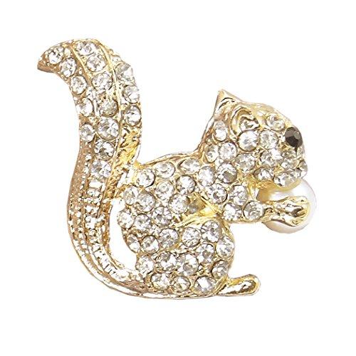 Flyonce Damen Österreichische Kristall Entzückende Eichhörnchen Animal Brosche Klar Gold-Ton