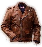 Rockabilly Marlon Brando cazadora de piel marrón, piel de vacuno
