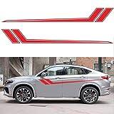 Luyao 2pcs Corps de la Voiture Autocollants décoratifs imperméables Sports Racing Style personnalité Jupe latérale Stickers de décoration de Voiture Accessoires de décoration
