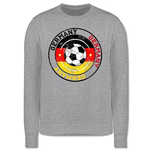 EM 2016 - Frankreich - Germany Kreis & Fußball Vintage - Herren Premium Pullover Grau Meliert