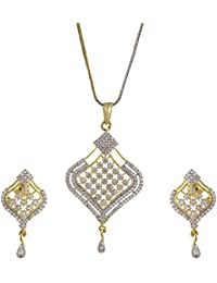 Zeneme American Diamond Gold Plated Pendant Set With Earring For Girls / Women - B01JURA60C