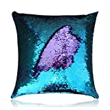 San Tungus 14 Inch x 14 Inch Square Glitter Sequin Pillow Cover Throw Cushion Case Pillowcase Without Insert(Teal and Light Purple)