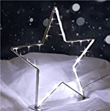 LED Metall Stern 30 kaltweißen LEDs Stern-Silhouette Weihnachtsdeko Fensterdeko Tischdeko Batteriebetrieben ca. 28x27x5cm