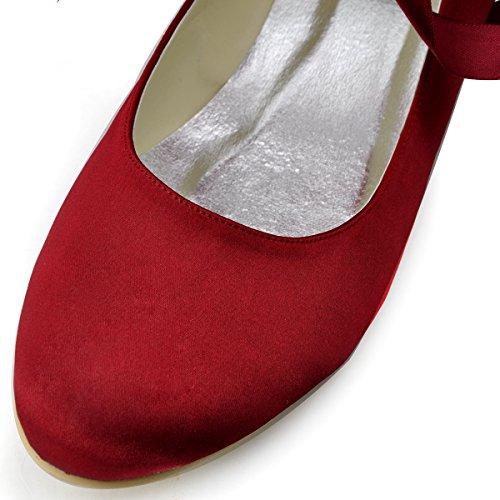 ElegantPark EP11105 Scarpe da sposa scarpe chiuse donna Borgogna