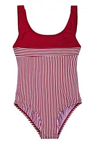 La-V Mädchen Badeanzug Rot Gestreift/Größe 128/134