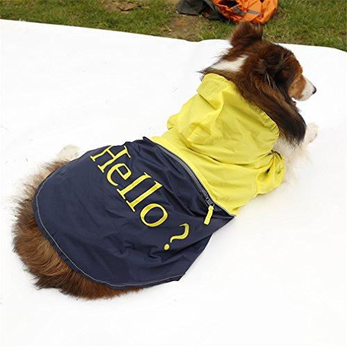 G WELL Hund Regenmantel Wasserabweisende Funktion Hundejacke Poncho Regenjacke Kurzarm für großen Hund Haustier Gelb XXXL - Gelber Labrador Retriever Training