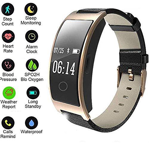 Fitness-Tracker 2019, Smart-Armband, mit Blutsauerstoffsättigung Blutdruck-Pulsmesser Schrittzähler IP67 Wasserdichte Sportuhr/Armbanduhr, Stoppuhr - Gold, Schwarz